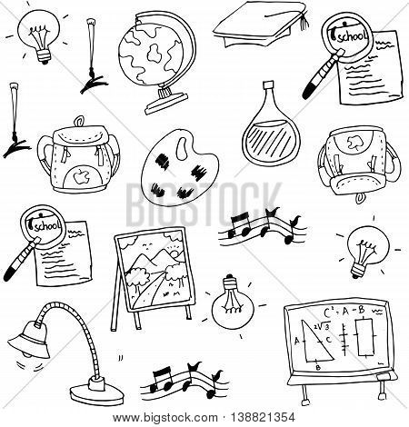 Education doodles element collection stock vector illustration