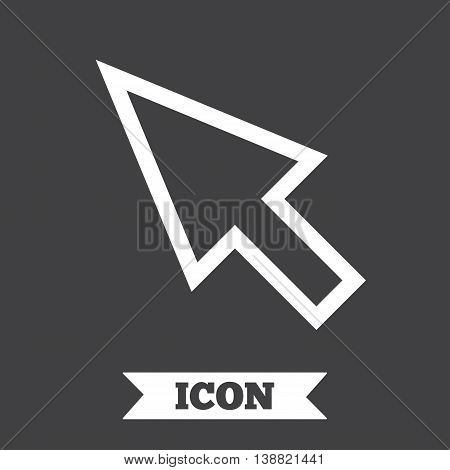 Mouse cursor sign icon. Pointer symbol. Graphic design element. Flat pointer symbol on dark background. Vector