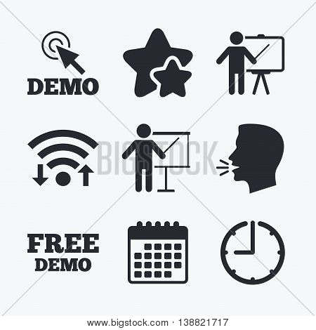 Demo with cursor icon. Presentation billboard sign. Man standing with pointer symbol. Wifi internet, favorite stars, calendar and clock. Talking head. Vector