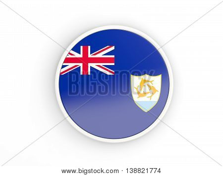 Flag Of Anguilla. Round Icon With Frame