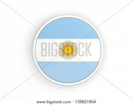 Flag Of Argentina. Round Icon With Frame