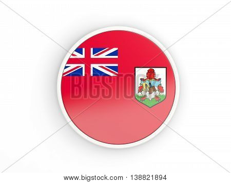 Flag Of Bermuda. Round Icon With Frame