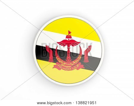Flag Of Brunei. Round Icon With Frame