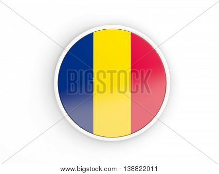 Flag Of Chad. Round Icon With Frame
