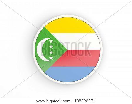 Flag Of Comoros. Round Icon With Frame