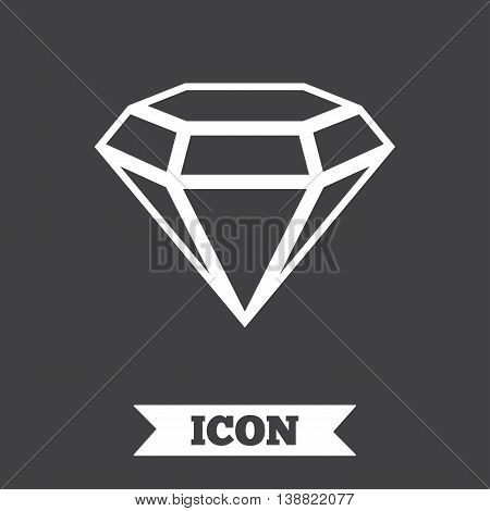 Diamond sign icon. Jewelry symbol. Gem stone. Graphic design element. Flat jewelry symbol on dark background. Vector