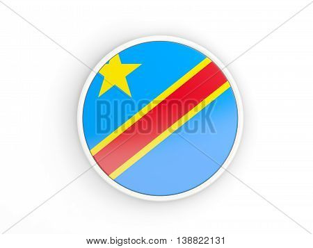 Flag Of Democratic Republic Of The Congo. Round Icon With Frame