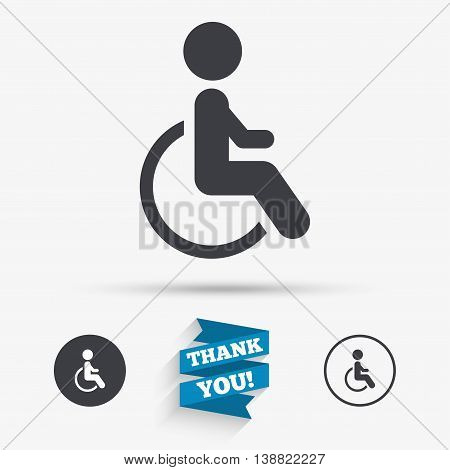 Disabled sign icon. Human on wheelchair symbol. Handicapped invalid sign. Flat icons. Buttons with icons. Thank you ribbon. Vector