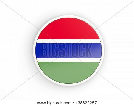 Flag Of Gambia. Round Icon With Frame