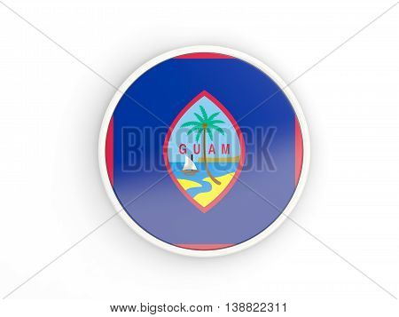 Flag Of Guam. Round Icon With Frame