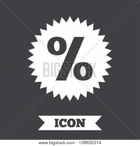 Discount percent sign icon. Star symbol. Graphic design element. Flat sale symbol on dark background. Vector