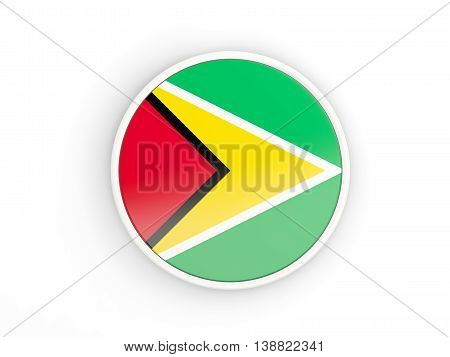 Flag Of Guyana. Round Icon With Frame
