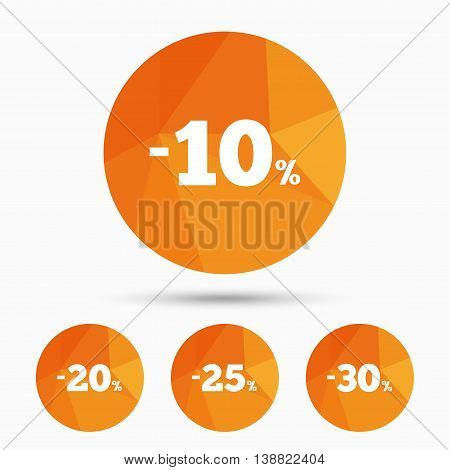 Sale discount icons. Special offer price signs. 10, 20, 25 and 30 percent off reduction symbols. Triangular low poly buttons with shadow. Vector