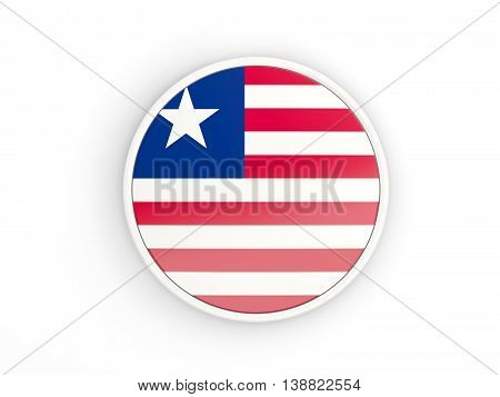 Flag Of Liberia. Round Icon With Frame