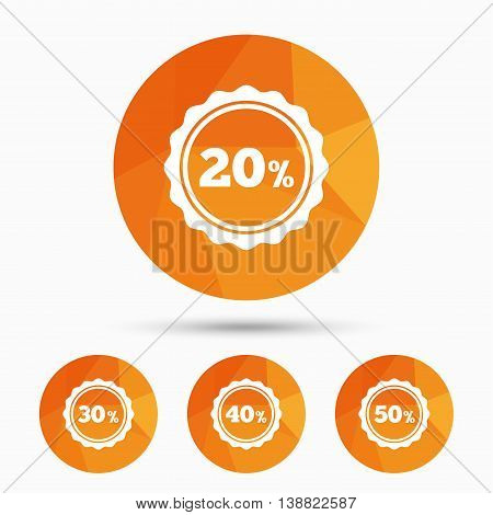 Sale discount icons. Special offer stamp price signs. 20, 30, 40 and 50 percent off reduction symbols. Triangular low poly buttons with shadow. Vector