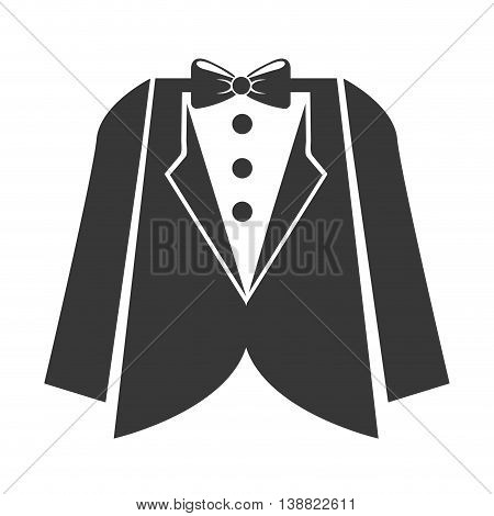 lovely wedding icon, suit with bow tie vector illustration