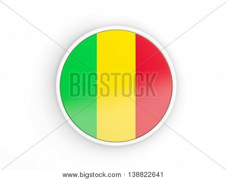 Flag Of Mali. Round Icon With Frame