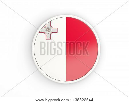 Flag Of Malta. Round Icon With Frame
