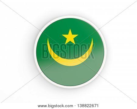 Flag Of Mauritania. Round Icon With Frame