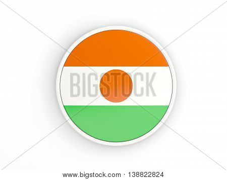Flag Of Niger. Round Icon With Frame