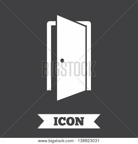 Door sign icon. Enter or exit symbol. Internal door. Graphic design element. Flat door symbol on dark background. Vector