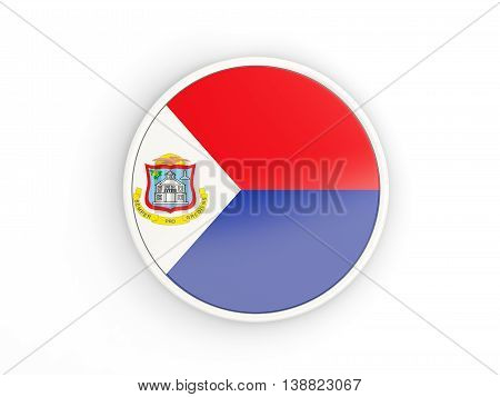 Flag Of Sint Maarten. Round Icon With Frame