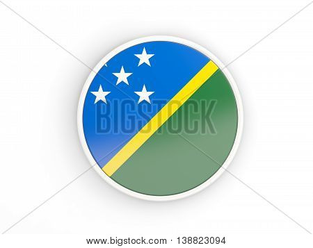 Flag Of Solomon Islands. Round Icon With Frame