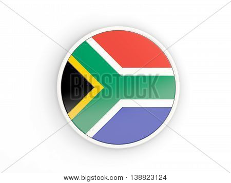 Flag Of South Africa. Round Icon With Frame