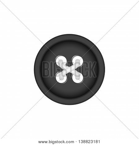 Sewing button in black design with sewing thread on white background