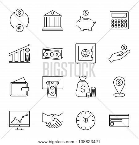 Finance and banking line icons. Vector illustration.