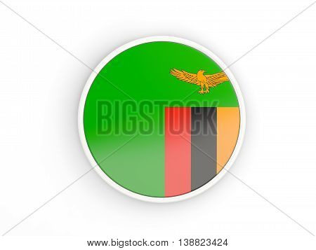 Flag Of Zambia. Round Icon With Frame