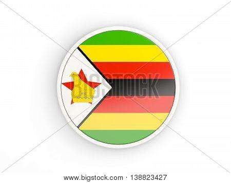 Flag Of Zimbabwe. Round Icon With Frame