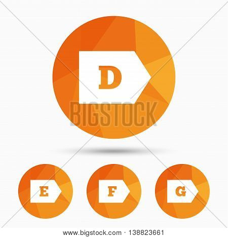 Energy efficiency class icons. Energy consumption sign symbols. Class D, E, F and G. Triangular low poly buttons with shadow. Vector