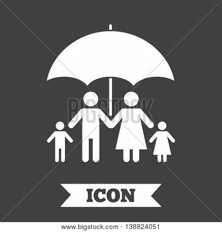 Complete family insurance sign icon. Umbrella symbol. Graphic design element. Flat insurance symbol on dark background. Vector
