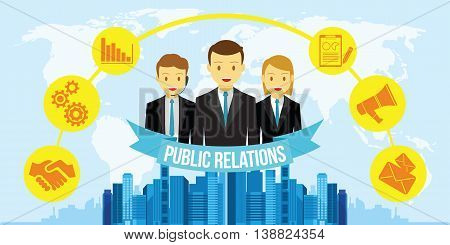 pr public relations vector illustration flat design