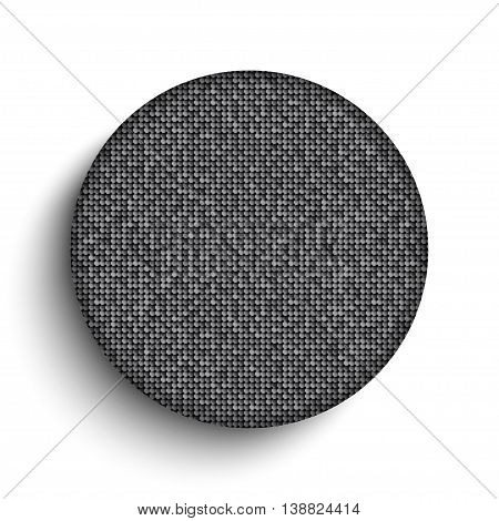 Vector white circle button on shiny silver sequins background . Sparkle glitter background. Glittering sequins wall. Eps 10.