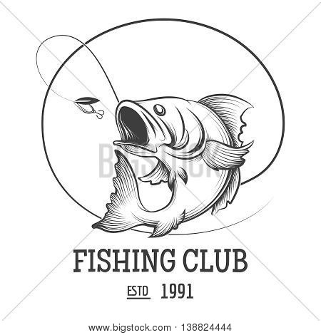 Fishing club logo with fly fish vector illustration