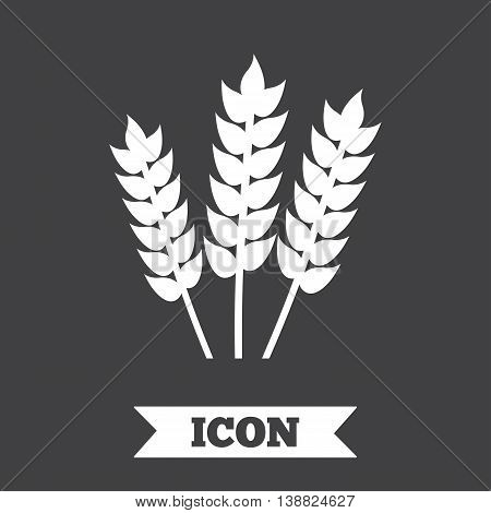 Agricultural sign icon. Gluten free or No gluten symbol. Graphic design element. Flat agriculture symbol on dark background. Vector