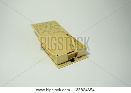 paper box and pencil isolated on white background