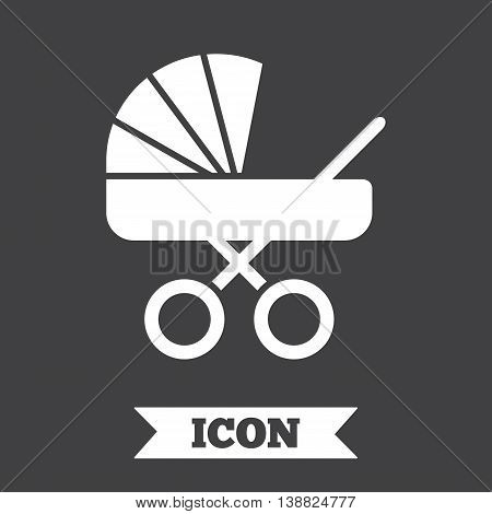 Baby pram stroller sign icon. Baby buggy. Baby carriage symbol. Graphic design element. Flat stroller symbol on dark background. Vector