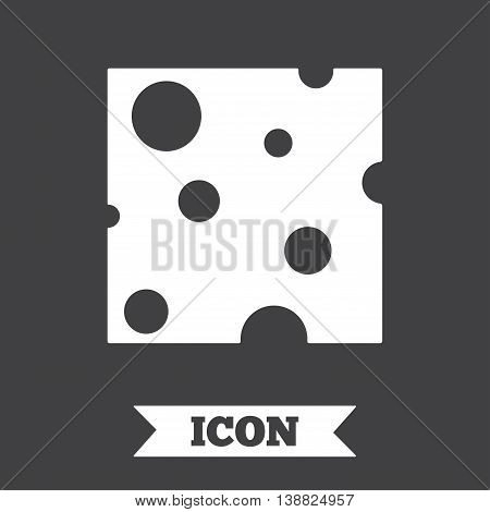 Cheese sign icon. Slice of cheese symbol. Square cheese with holes. Graphic design element. Flat cheese symbol on dark background. Vector