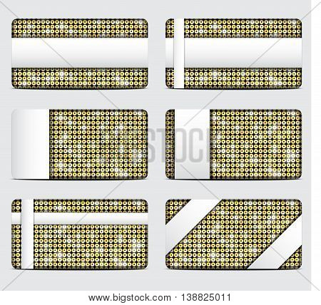 Vector gift cards with abstract mosaic gold sequins background.