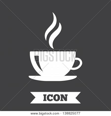 Coffee cup sign icon. Hot coffee button. Hot tea drink with steam. Graphic design element. Flat coffee symbol on dark background. Vector