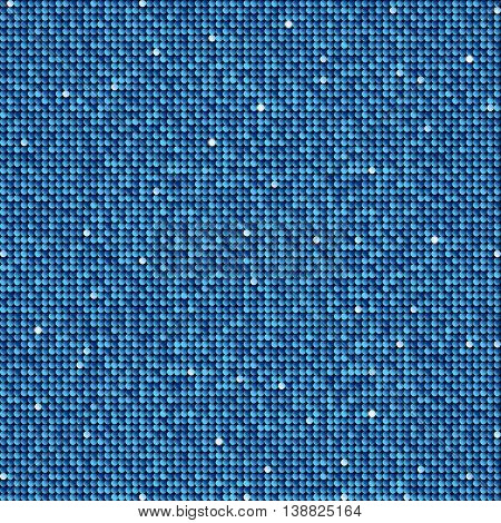 Background with shiny blue sequins. Sparkle glitter background. Glittering sequins wall.