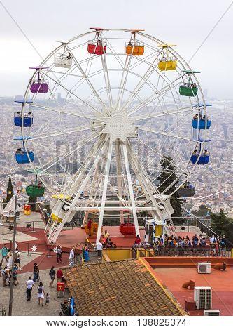 BARCELONA SPAIN - JULY 3 2016: Ferris wheel in Tibidabo Barcelona