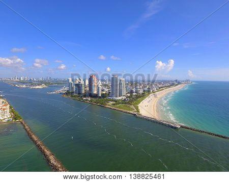 Aerial photo Miami Beach South Pointe Park Florida