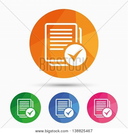 Text file sign icon. Check File document symbol. Triangular low poly button with flat icon. Vector