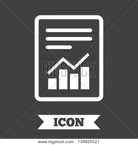 Text file sign icon. Add File document with chart symbol. Accounting symbol. Graphic design element. Flat report symbol on dark background. Vector