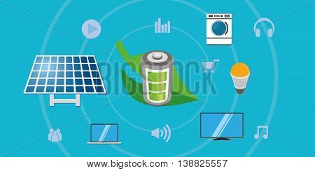 green energy from solar panel vector illustration flat design