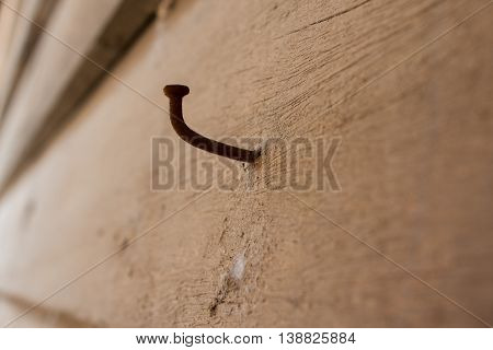 Rusty nail and an old wall rusty, nail, wood, wall, old, background, white, retro